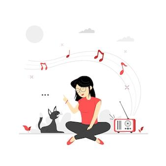 Karakterillustraties luisteren naar muziek