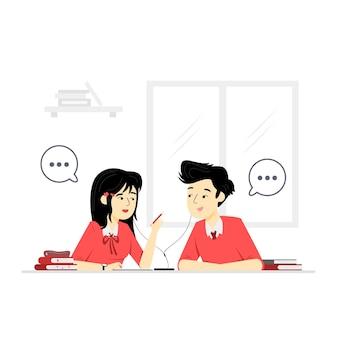 Karakterillustraties van studenten die samen leren