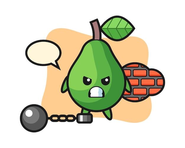 Karaktermascotte van avocado als gevangene