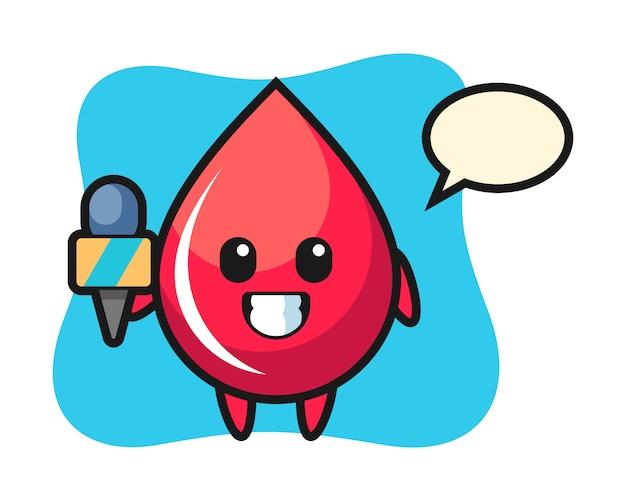 Karaktermascotte van bloeddruppel als nieuwsverslaggever, schattige stijl, sticker, logo-element