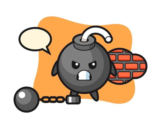 Karaktermascotte van bom als gevangene