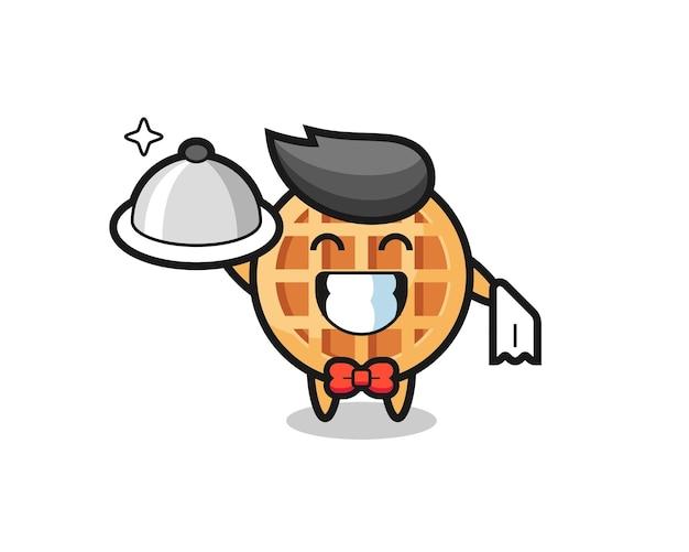 Karaktermascotte van cirkelwafel als obers, schattig ontwerp