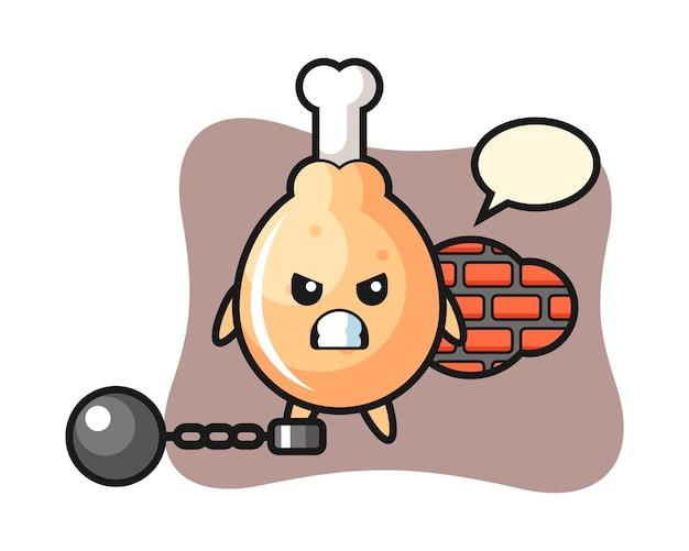 Karaktermascotte van gebraden kip als gevangene