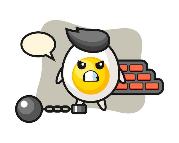 Karaktermascotte van gekookt ei als gevangene