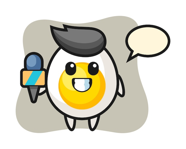 Karaktermascotte van gekookt ei als nieuwsverslaggever