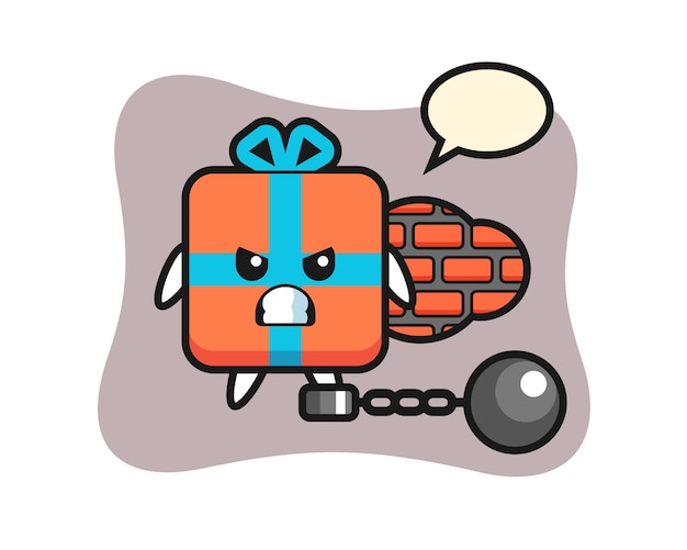 Karaktermascotte van geschenkdoos als gevangene