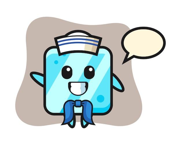 Karaktermascotte van ijsblokje als een zeeman