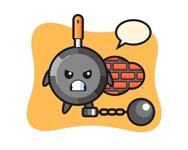 Karaktermascotte van koekenpan als gevangene