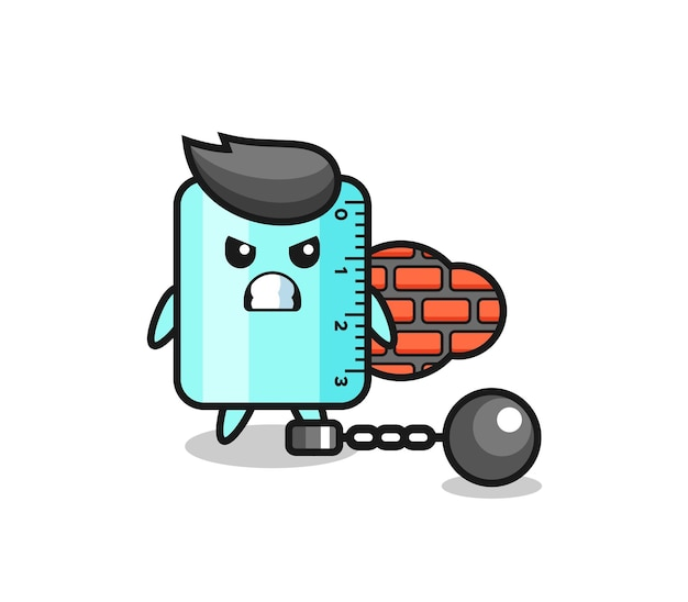 Karaktermascotte van liniaal als gevangene, schattig stijlontwerp voor t-shirt, sticker, logo-element