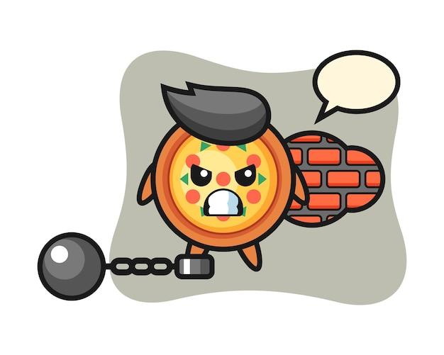 Karaktermascotte van pizza als gevangene