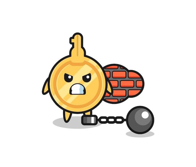 Karaktermascotte van sleutel als gevangene, schattig ontwerp