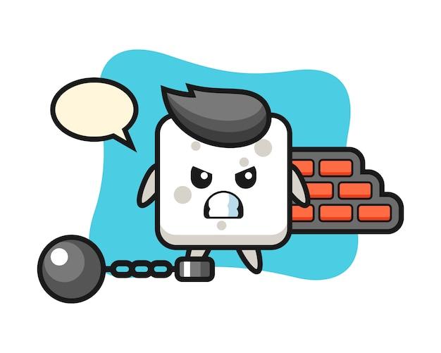Karaktermascotte van suikerklontje als gevangene, schattige stijl voor t-shirt, sticker, logo-element