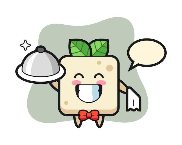 Karaktermascotte van tofu als obers, schattig stijlontwerp voor t-shirt