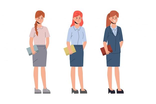 Karaktermensen van vrouwen in kantoorbaan.
