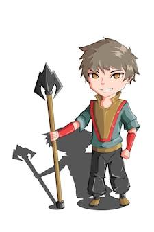 Karakterontwerp een kleine jongen die een speer vasthoudt