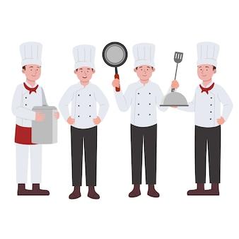 Karakterontwerp van chef-kok boy cartoon instellen