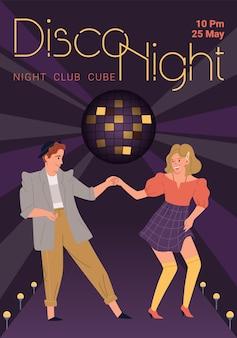 Karakters dansen-disco dance party flyer