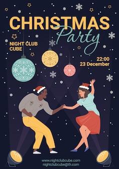 Karakters dansen, jonge mensen vieren kerstmis