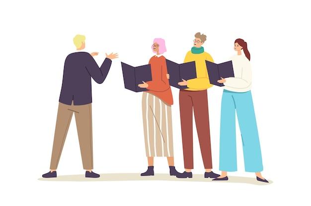 Karakters die in koor zingen, zangers en zangeressen kooruitvoering met dirigent beheren proces. jongeren met zingende boeken voeren muzikale compositie op scène uit. cartoon vectorillustratie