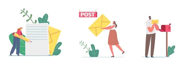 Karakters die schrijven, verzenden of ontvangen van post mails berichten concept. kleine vrouw houdt enorme gele envelop vast. man zet brief in brievenbus. port, communicatie. cartoon mensen vectorillustratie