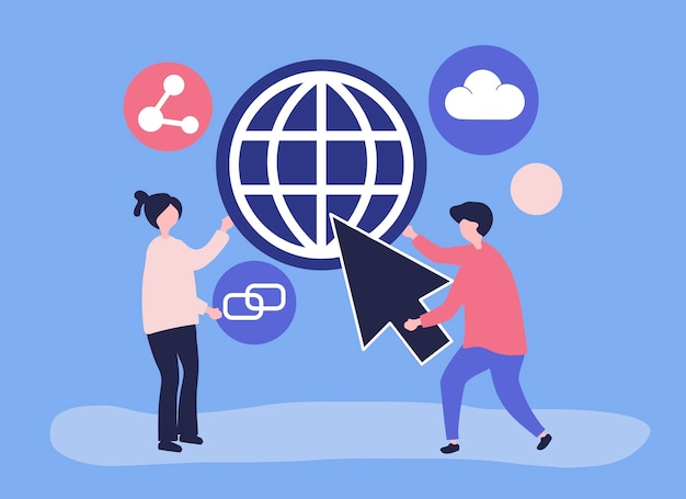 Karakters en globale communicatie conceptenillustratie