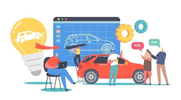 Karakters prototyping auto concept. ingenieurontwerper voert autoprototypeproject uit, machinebouwindustrie, klanten die nieuwe auto kopen. cartoon mensen vectorillustratie