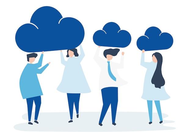 Karakters van bedrijfsmensen die wolkenpictogrammen houden