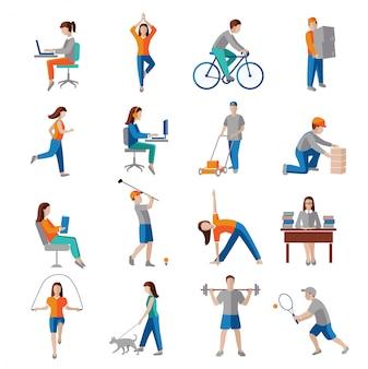 Karakters van de beroepsactiviteit de gezonde levensstijl plaatsen geïsoleerde vectorillustratie.