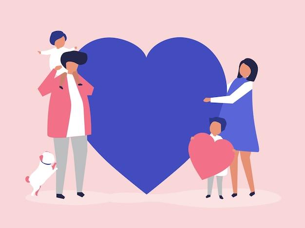 Karakters van een familie die een illustratie van de hartvorm houden