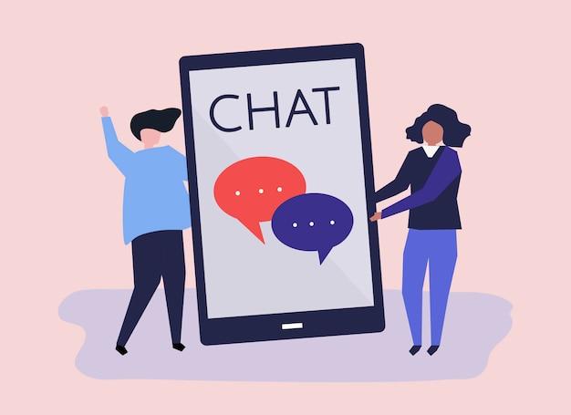 Karakters van een paar en texting conceptenillustratie