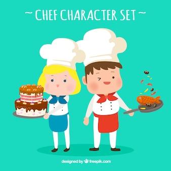 Karakters van grappige koks met lekker eten
