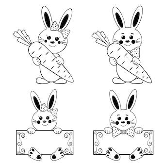 Karakters van konijnen met wortelen, zwarte omtrek.