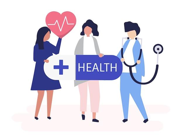Karakters van mensen die de illustratie van gezondheidszorgpictogrammen houden