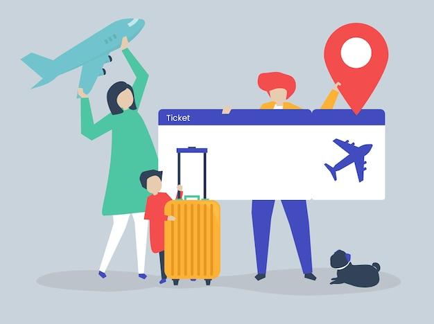 Karakters van mensen die de illustratie van reispictogrammen houden