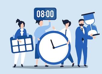 Karakters van mensen die het concept van het tijdbeheer houden