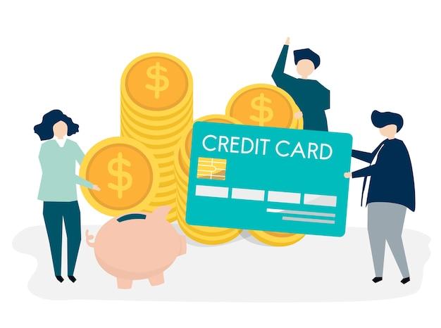 Karakters van mensen en het conceptillustratie van contant geldbesparingen