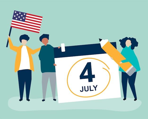 Karakters van mensen en vierde van het conceptenillustratie van juli
