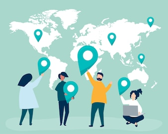 Karakters van mensen met kaart en GPS-tellersillustratie