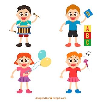 Karakters van spelende kinderen