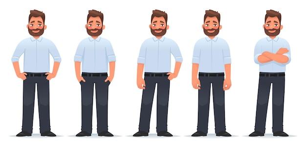 Karakterset van een gelukkige bebaarde man in verschillende poses in klassieke kleding