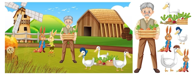Karakterset voor boerderijdieren geïsoleerd met boerderijscène