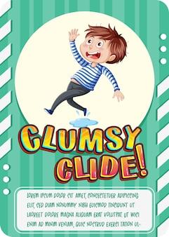 Karakterspelkaart met woord clumsy clide