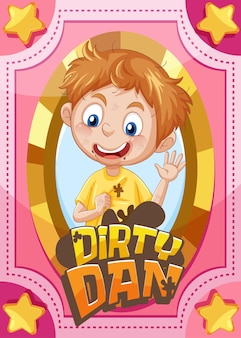 Karakterspelkaart met woord dirty dan