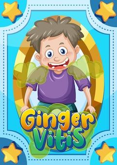 Karakterspelkaart met woord ginger vitis