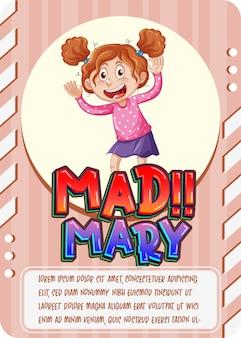 Karakterspelkaart met woord mad mary