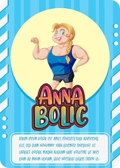 Karakterspelkaartsjabloon met woord anna bolic