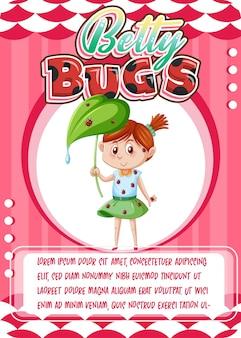 Karakterspelkaartsjabloon met woord betty bugs