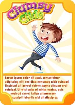 Karakterspelkaartsjabloon met woord clumsy clide