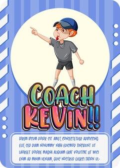 Karakterspelkaartsjabloon met woord coach kevin
