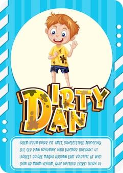Karakterspelkaartsjabloon met woord dirty dan